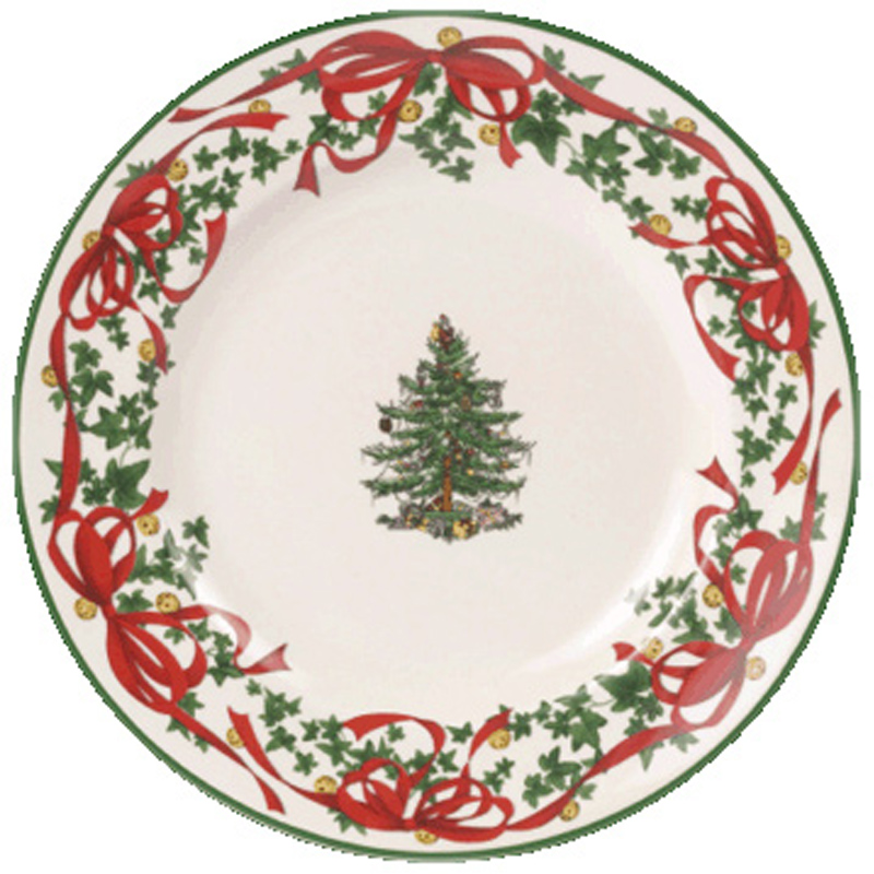 Christmas tree red ribbons set of 4 canape plates from for Christmas canape plates
