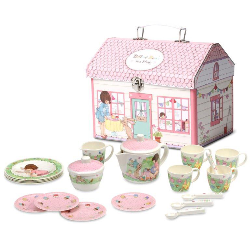 melamine tea set in house box from belle boo wwsm. Black Bedroom Furniture Sets. Home Design Ideas
