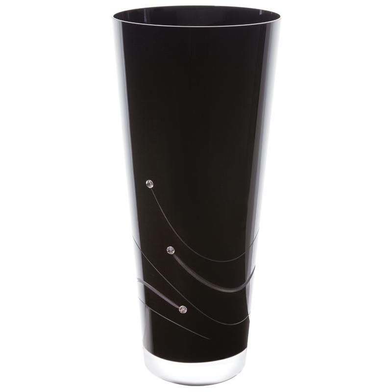 noir conical vase medium from dartington crystal wwsm. Black Bedroom Furniture Sets. Home Design Ideas