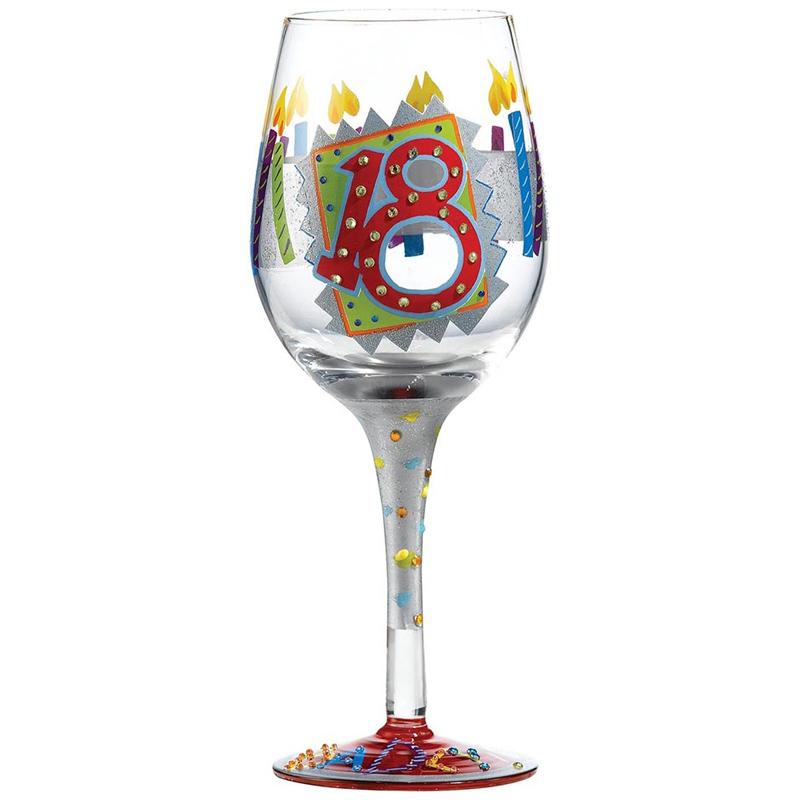 """Lolita Love My Wine """"18th Birthday"""" Hand Painted Wine"""
